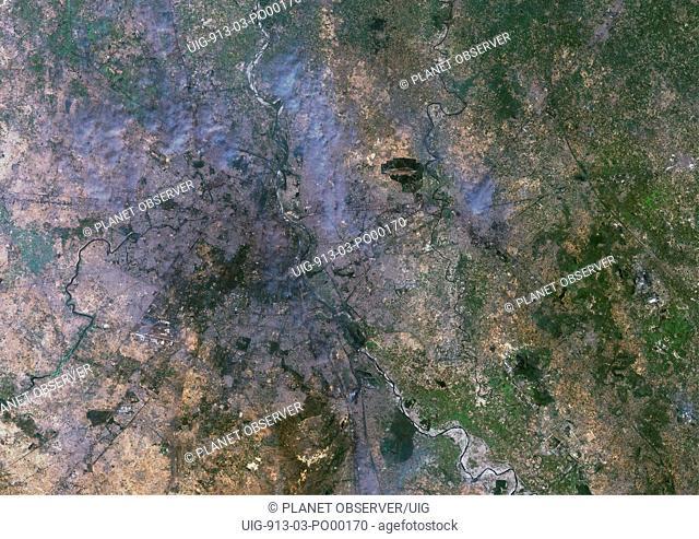 Delhi, India, True Colour Satellite Image. Delhi, India. True colour satellite image of Delhi, taken on 22 October 1999, using LANDSAT 7 data