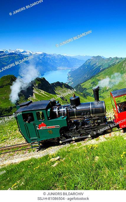 View from the Brienzer Rothorn to Brienz Rothorn Railway, a steam rack railway. Emmental Alps, Switzerland