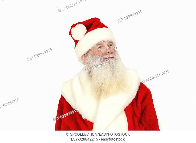 Santa Claus with real beard lookin up (isolated)