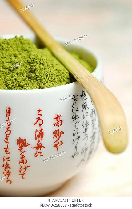 Japanese Matcha tea, bowl with Green tea powder, bamboo spoon, Chashaku