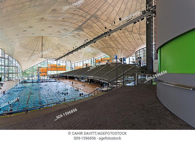 Interior of the Munich Olympic Swimming Pool, Muich Olympic Park, Gern, Munich Bayern, Germany