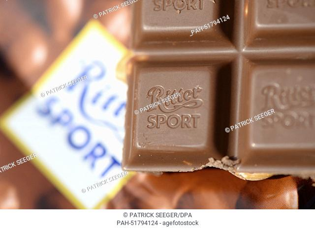 ILLUSTRATION - A chocolate bar of whole nut flavour chocolate of chocolate manufacturer Ritter Sport is on display om Freiburg, Germany, 8 September 2014