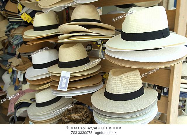 Straw hats for sale in the shop at the town center, Chania, Crete, Greek Islands, Greece, Europe
