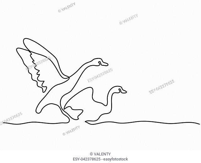 Continuous one line drawing. Flying Swans logo. Black and white vector illustration. Concept for logo, card, banner, poster, flyer