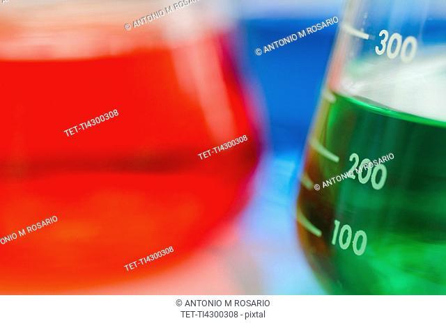Studio shot of laboratory beakers