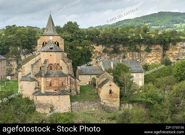 Bozouls medieval castle and town on a canyon South of France, Aveyron Midi Pyrenees on September 24, 2020 nice view of the antique medieval stone buildings with...