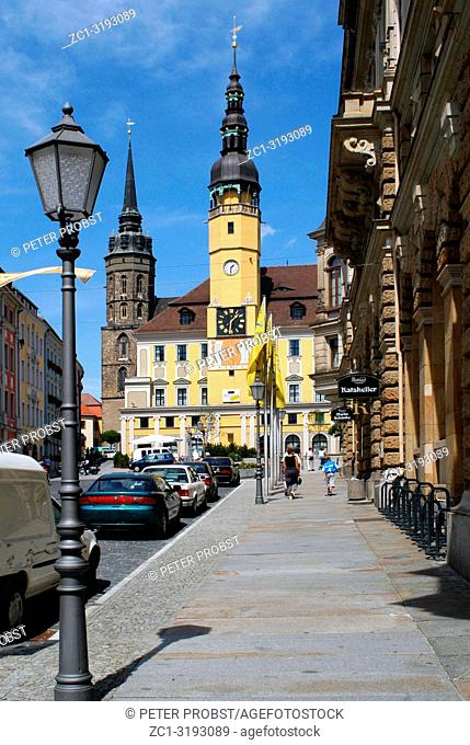 Town hall tower in the Old Town of Bautzen in the Saxon Upper Lusatia - Germany