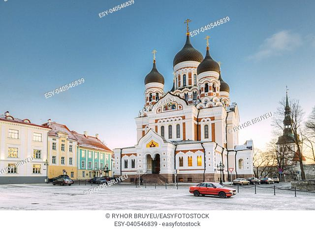 Tallinn, Estonia. Morning View Of Alexander Nevsky Cathedral. Famous Orthodox Cathedral Is Tallinn's Largest And Grandest Orthodox Cupola Cathedral
