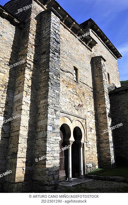 The Mozarabic church of Santiago, Xth century. Peñalba de Santiago, León, Spain