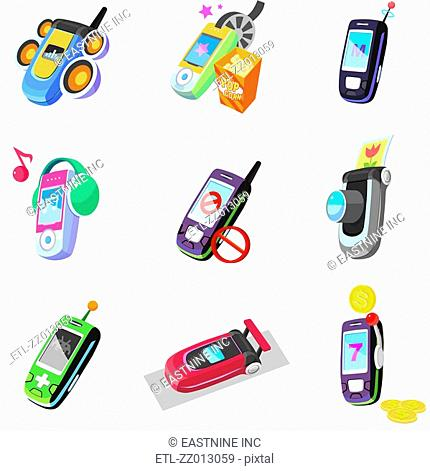 Close-up of mobile phones
