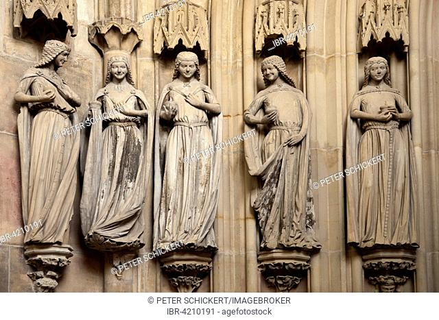 Five wise virgins in the interior of the Cathedral of Magdeburg, Magdeburg, Saxony-Anhalt, Germany