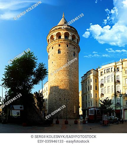 View on Galata Tower and old turkish tram at the square of Istanbul, Turkey