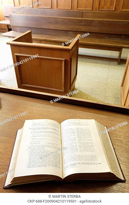 Czech court showing Businnes Law book and the wittness stand in background, judge, case, guilty, innocent, jury, guilt, innocence CTK Photo/Martin Sterba