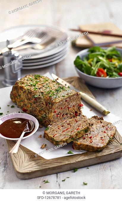 Meatloaf with red bell pepper