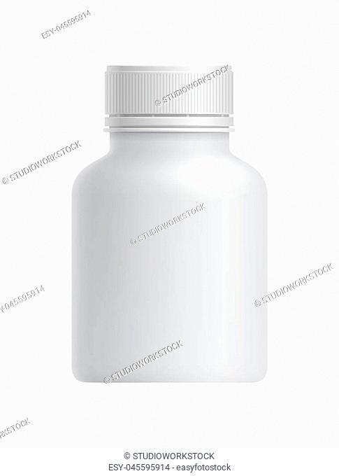 Blank white plastic drug container isolated on white background vector illustration. Packaging design element for branding