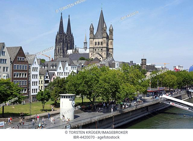 Great St. Martin Church and Cologne Cathedral, Cologne, North Rhine-Westphalia, Germany