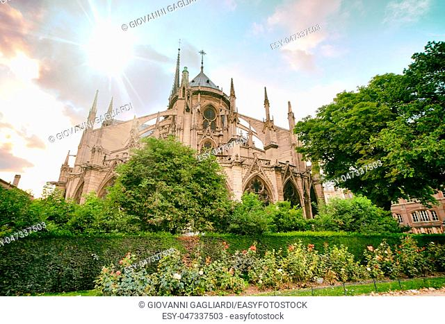Notre Dame exterior view from along the Seine River, Paris