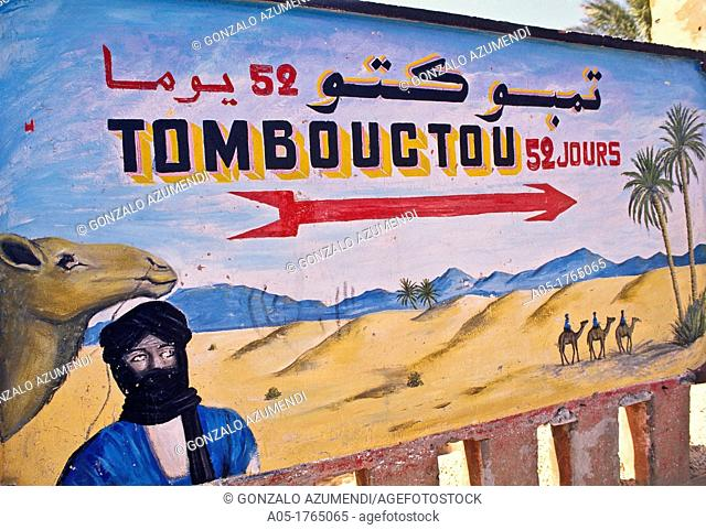 Display panel of the road to Tomboctou (Timbuktu), Zagora, Draa valley, South of Morocco