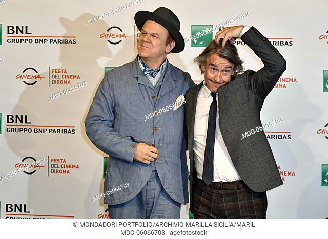 America actor John C. Reilly and English actor Steve Coogan participate at the photocall of the film Stan & Ollie at the Rome Film Festival 2018 at Auditorium...