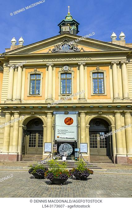Nobelmuseum the Alfred Nobel prize museum Stortorget square Gamla Stan the old town Stockholm Sweden Europe Old Town tourist destination in Stockholm is the...