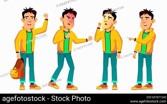 Asian Bad Boy Kid Poses Set Vector. High School Child. For Web, Poster, Booklet Design. Cartoon Illustration