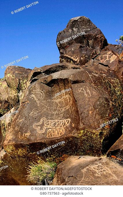 American Indian petroglyphs are located in the Coso Range of Southern California, USA