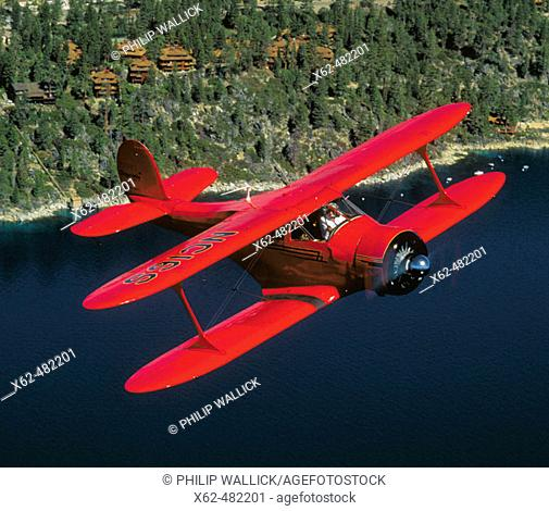 Beechcraft Staggerwing over Lake Tahoe