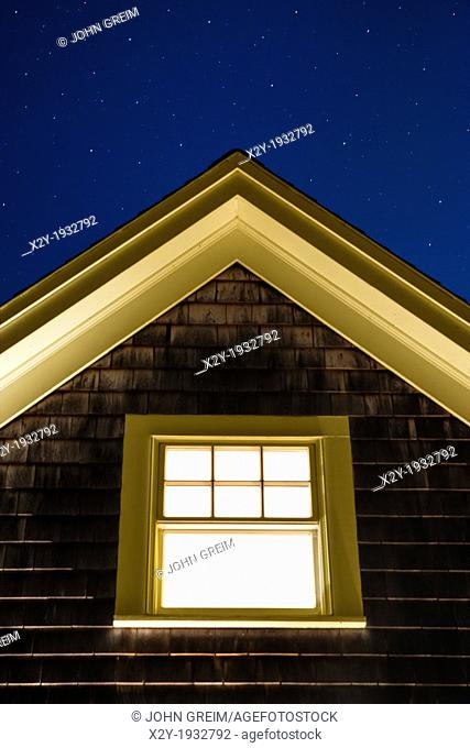 Cottage window on a starry night, Martha's Vineyard, USA