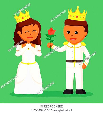 African prince giving flower to princess
