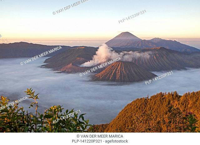 Sunrise over Mount Bromo / Gunung Bromo, active volcano and part of the Tengger massif, East Java, Indonesia