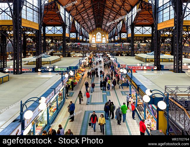 Budapest Great Market Hall, elevated view of food market stalls and people shopping