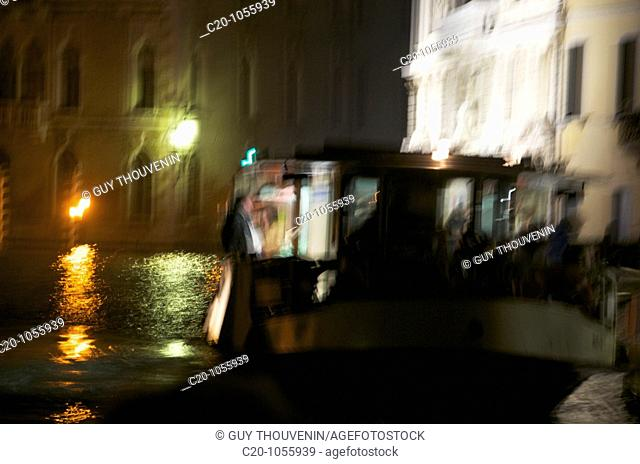 Grand Canal, Vaporetto, Water, at night, Blurred Motion, Venice , Italy