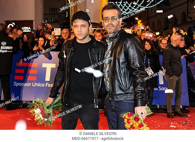 Rancore and Daniele Silvestri on the Red Carpet of the 69th Sanremo Music Festival. Sanremo (Italy), Fabruary 4th, 2019