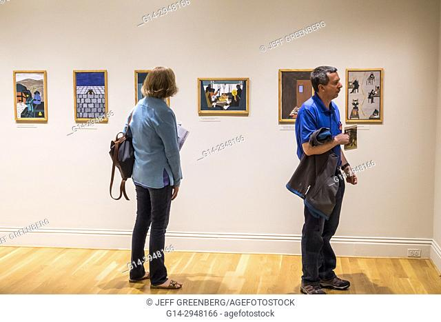 Washington DC, District of Columbia, Phillips Collection, art, museum, exhibit, viewing, Great Migration, Jacob Lawrence, African Americans history, man, woman