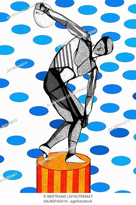 Discobolus on spotted background