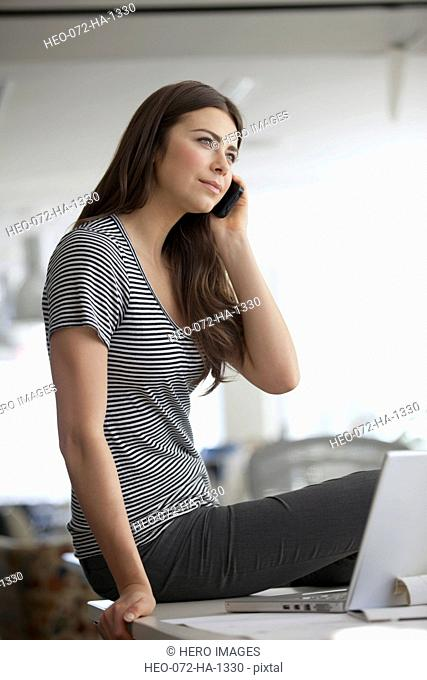 young business woman on cell phone