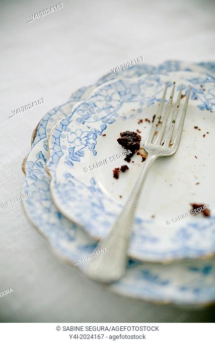 Detail of a fork and crumbs of a chocolate cake
