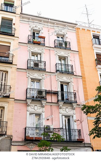 Pink building in Plaza de Chueca. Madrid. Spain