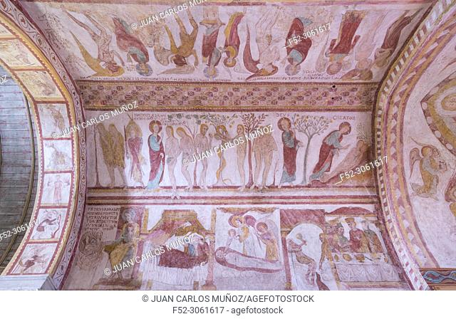 Frescoes XII century, Saint-Martin Church, Liguiere-de-Touraine, Indre-et-Loire Department, The Loire Valley, France, Europe