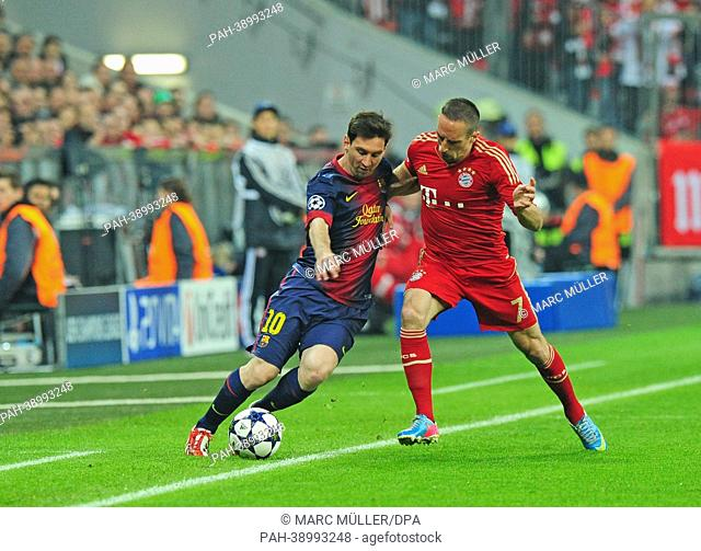 Munich's Franck Ribery (R) and Barcelona's Lionel Messi vie for the ball during the UEFA Champions League semi final first leg soccer match between FC Bayern...