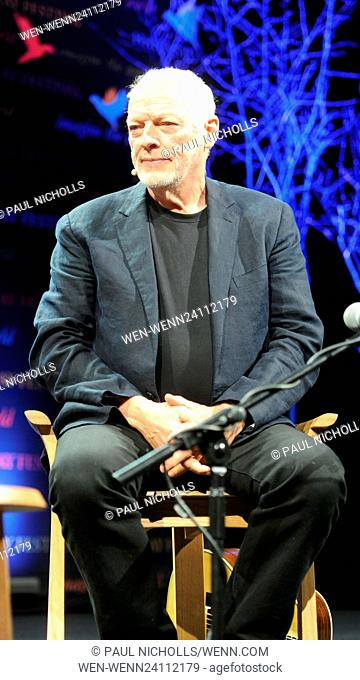 David Gilmour being interviewed at the Hay Festival, Hay-On-Wye, Powys, Wales Featuring: David Gilmour Where: Hay-On-Wye, Wales