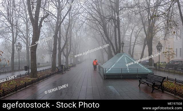 Odessa, Ukraine. Primorsky Boulevard in Odessa, Ukraine, on a foggy autumn day