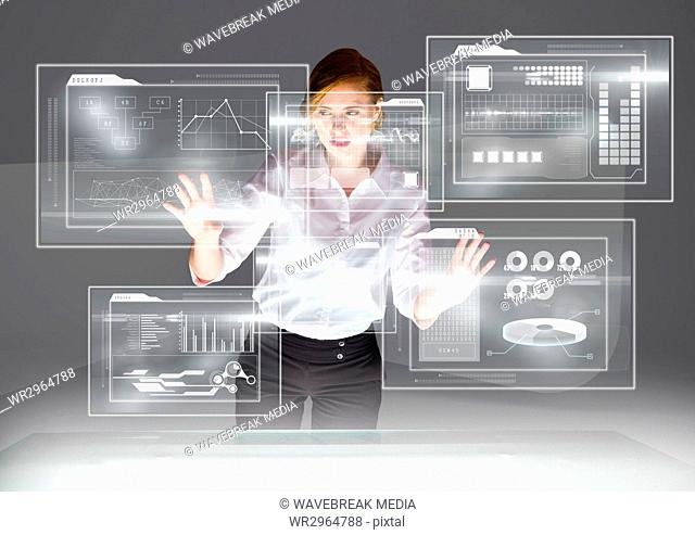 futuristic room interface with table, young woman