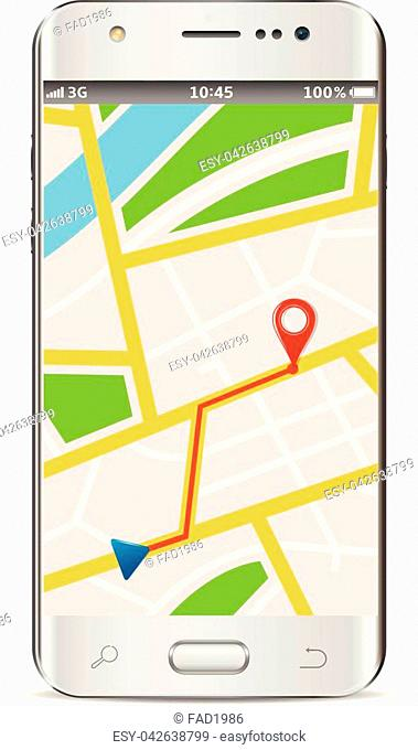 Smart phone with wireless navigator service internet app on screen isolated on white background. Vector illustration