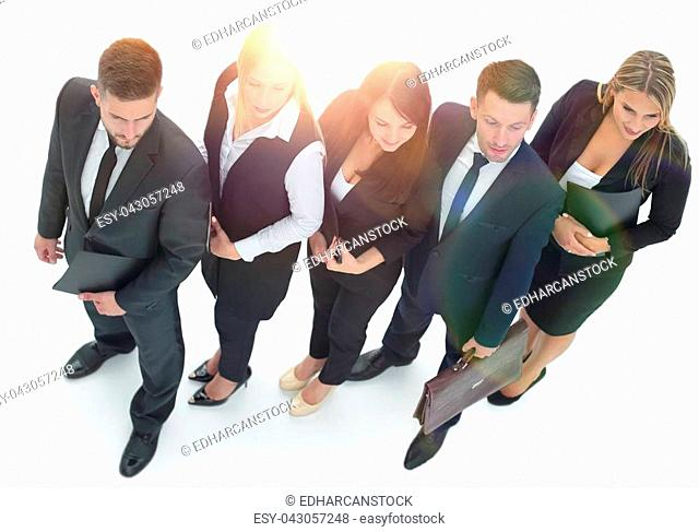 bottom view.confident business team looking at camera. On a white background