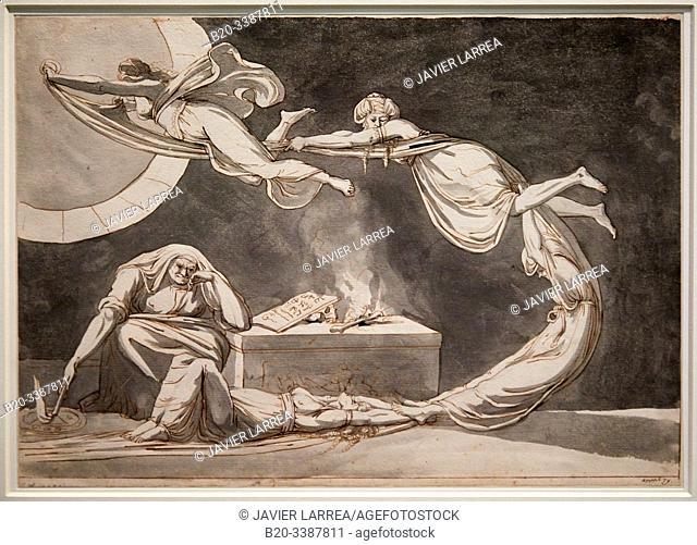 """""""Sce`ne d'incantation avec une sorcie`re pre`s de l'autel"""""""", 1779, Johann Heinrich Fûssli, L'Allemagne romantique exhibition, Dessins des musées de Weimar"""