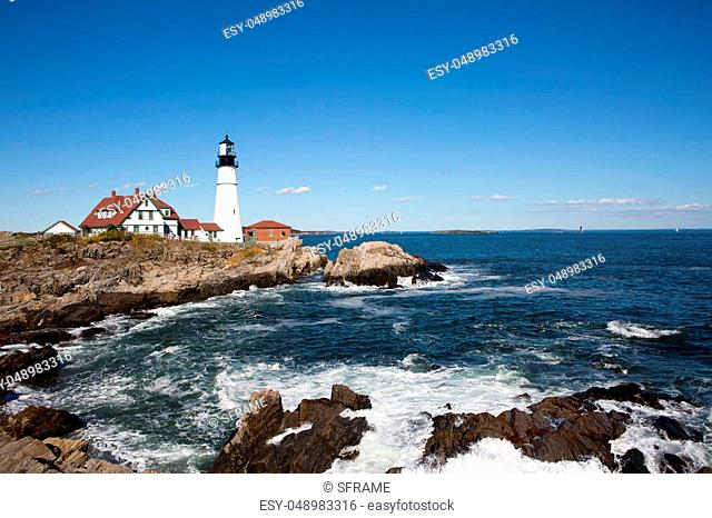 Portland Head Lighthouse, operated by the United States Coast Guard, has guided shipping around Cape Elizabeth, Maine, USA since 1791 and is on the National...