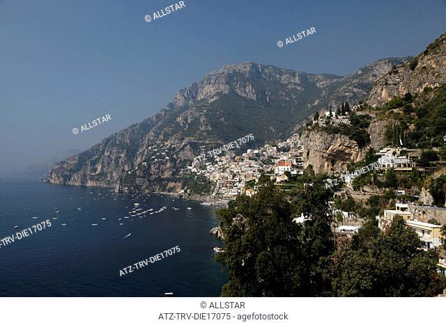 POSITANO & MEDITERRANEAN SEA; AMALFI DRIVE, SOUTHERN ITALY; 16/09/2011