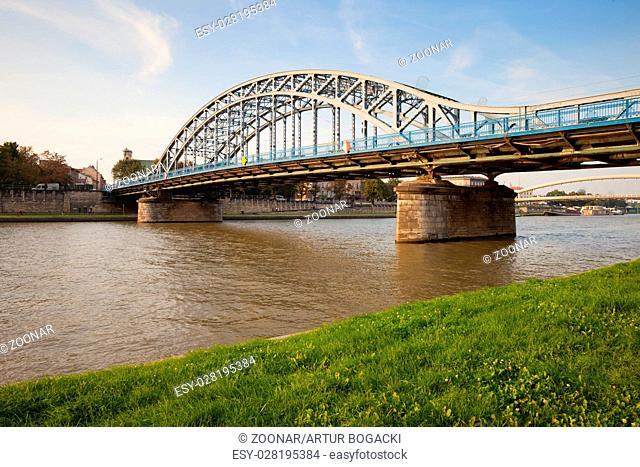 Pilsudski Bridge on Vistula River in Krakow