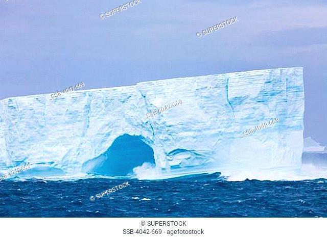 Tabular icebergs in the ocean, Antarctica